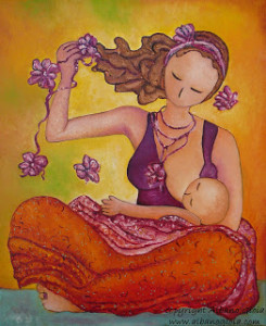 Motherhood-painting-Beautiful-Sitting-Mama-Breastfeeding-Gioia-Albano-art-245x300